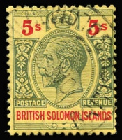 Lot 972 [3 of 5]:1914-23 Wmk Mult Crown CA 2/- to 10/- incl 5/- shade (SG #36a). SG #34-7, Cat £200+. Fine used with nice colour. (5)