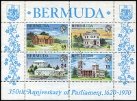 Lot 6 [4 of 4]:Bermuda 1959-71 Collection on leaves almost complete (ex 1966-69 Picts, 1970 Decimal opts & 1971 Golf). 1967 Telephone Service 1/- has Broken Cable variety, also 1964 Olympic Games 3d (10) on FDC with special cachet. Cat £100+. (87 & M/S)