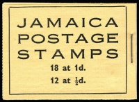 Lot 1010 [2 of 2]:Booklet: Jamaica 1946 2/- New Constitution Booklet SG #B12 containing 1½d SG #134a x16 in blocks of 4, containing 1½d, plus 1952 2/- booklet containing 1d x18 & ½d x12.SG #B12,B13, Cat £250. Ex Mayo. (2)