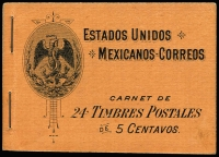 Lot 1013:Booklet: Mexico 1903 Coat of Arms 1p20c black on orange cover containing 5c orange panes of 6 SG #279a x2 (two further panes removed). Fine condition. Ex Mayo.