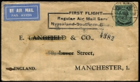 Lot 10 [2 of 3]:British Africa Selection incl Basutoland 1933 3d FDC to Capetown, Nyasaland Protectorate 1934 1st Flight cover (fault) Nyasaland to Southern Rhodesia cachet with KGV 1/-, South Africa 1936 Jo'burg Exhibition cds on special airmail Exhibition postcard to GB. (3)