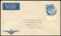 Lot 10 [3 of 3]:British Africa Selection incl Basutoland 1933 3d FDC to Capetown, Nyasaland Protectorate 1934 1st Flight cover (fault) Nyasaland to Southern Rhodesia cachet with KGV 1/-, South Africa 1936 Jo'burg Exhibition cds on special airmail Exhibition postcard to GB. (3)