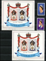 Lot 7 [2 of 3]:British Commonwealth in album incl Gibraltar M/Ss (5), Great Britain 1977 Jubilee 6½p Postal cards (4 different, unused), Guernsey, Isle of Man, Indian States-Cochin used collection (mixed condition) incl optd, Officials, etc, Tristan da Cunha M/Ss (9), 1977 Birds (12), also Portugal 1994 Trawlers booklet. (Few 100 & 23 M/Ss)