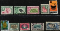 Lot 9 [2 of 2]:British Commonwealth incl AAT, Canada, Fiji, Gold Coast 1928 5/- (MUH), GB, India, Ireland, Hong Kong, Malacca 1957 $2 used, Mauritius, NZ, Norfolk Island 1960 10/- Bird optd 'SPECIMEN' 13½mm at base (MLH), Nyasaland 1945 10/- (MUH), Papua New Guinea 1952 10/- Map (2, one no gum, one fine used), £1 used, 1958-60 1/7d Cattle & 5/- (MUH), Pitcairn Islands 1951 4d & 8d (MLH), St Vincent, Singapore, South Africa, Southern Rhodesia. Generally fine. (44)