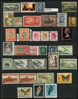 Lot 9 [1 of 2]:British Commonwealth incl AAT, Canada, Fiji, Gold Coast 1928 5/- (MUH), GB, India, Ireland, Hong Kong, Malacca 1957 $2 used, Mauritius, NZ, Norfolk Island 1960 10/- Bird optd 'SPECIMEN' 13½mm at base (MLH), Nyasaland 1945 10/- (MUH), Papua New Guinea 1952 10/- Map (2, one no gum, one fine used), £1 used, 1958-60 1/7d Cattle & 5/- (MUH), Pitcairn Islands 1951 4d & 8d (MLH), St Vincent, Singapore, South Africa, Southern Rhodesia. Generally fine. (44)