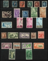 Lot 10 [2 of 3]:British Commonwealth Collection incl Ascension, Canada 1928-29 $1 Parliament used, 1933 Grain Conference (MLH), Ceylon 1863-70 10d used, 1938-49 30c, 1r (MLH), Falkland Islands 1960-66 5/- Birds, Gibraltar, Hong Kong KEVII $1 used, 1937 Coronation (MLH), India, KUT 1954-59 £1 Queen used, New Zealand KEVII Officials incl 8d & 1/-, KGV 7½d, 2/- Admiral used, 1960-66 Picts 2/- to £1 (MLH), North Borneo 1895 $5 Arms used, PNG 1952-58 10/- Map, £1 Fisherman, Southern Rhodesia. Generally fine. (76)
