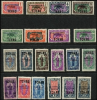 Lot 27 [1 of 2]:French Colonies incl Middle Congo 1924-30 1c to 5f (ex 90c, 1f10,1f50 & 3f), Gabon 1910 'CONGO FRANCAIS GABON' 25c to 75c (ex 35c) Cat £290+. CHAD 1924-33 various ovpts to 5f, Syria 1926 Air opts (4), etc. Mixed condition. (82)