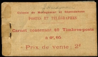 Lot 43 [2 of 2]:Madagascar (French) 1908 Transport 2f booklets, SG #SB1,2, the former with 5c SG#56 x40 in ten panes of 4, back cover missing, the latter with 10c SG #57 x20 in 5 panes of 4 (2 stamps missing final pane), some blemishes & aging, presentable condition overall. Cat £640 as complete booklets. Rare survivors. Ex Mayo. (2)