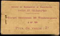 Lot 43 [1 of 2]:Madagascar (French) 1908 Transport 2f booklets, SG #SB1,2, the former with 5c SG#56 x40 in ten panes of 4, back cover missing, the latter with 10c SG #57 x20 in 5 panes of 4 (2 stamps missing final pane), some blemishes & aging, presentable condition overall. Cat £640 as complete booklets. Rare survivors. Ex Mayo. (2)
