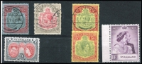 Lot 1056 [2 of 2]:Nyasaland 1921-53 Collection incl 1921-23 KGV 2/6d, 4/-, 5/- & 10/- (SG #110-13), all with 'BLANTYRE' cds, 1938-44 KGVI 5/- (SG#141, mint), 1948 Wedding (MUH, marginal), 1953 QEII 20/- (MUH). Cat £350+. (7)