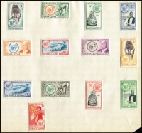 Lot 65 [2 of 3]:Sierra Leone 1956-60s Collection on Leaves incl 1956-61 Picts (13), 1967 Independence Picts (13), 1963 Flowers (13) plus a good selection of peel & stick types, some used. (90+)