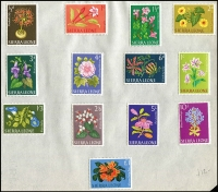 Lot 65 [3 of 3]:Sierra Leone 1956-60s Collection on Leaves incl 1956-61 Picts (13), 1967 Independence Picts (13), 1963 Flowers (13) plus a good selection of peel & stick types, some used. (90+)