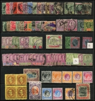 Lot 916:South East Asia 1915-52 Collection incl Brunei 1924-37 $1, Johore various Sultans to $2, Federated Malay States 1904-22 $2, Kedah, Kelantan, Perak, Sarawak 1892 'ONE/CENT' on 3c, block of 4 (no gum), Straits Settlements with KEVII various to $5, KGV $1 & $2. Several fiscal cancels noted. STC £450+. Mixed condition. (80+)