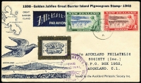 Lot 92 [2 of 3]:World in 6 albums incl Arab States, Australia Pre decimal QE commems in large multiples, PSEs, Canada few FDCs, Germany, Greece, New Zealand stockbook with numerous used issues. Few covers incl Isle of Man FDCs (approx 50 'Benhams'), New Guinea 1934 registered long cover Lae to Perth with Undated Bird Airs 3d (6), 4d (6) & 6d, New Zealand range of 1940s Barrier Island covers, etc. Mixed condition. 8.8kg. (100s)