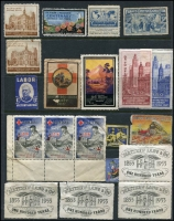 Lot 1152 [3 of 5]:1900s-1960s: incl 1902 Member of 'Soper Club' Certificate (in very delicate condition), New South Wales 1907 leather Post Card in the shape of shoe soul, Victoria 1949 'TEN GALLONS' Petrol Ration coupon sheet of 10. Germany 1960 & 1964 Parcel Forms with DM 32.10 & DM17.75 in adhesives, USA 1909 cover to Australia with advertising labels on reverse. also selection of Victoria advertising labels (all no gum) Victoria & Melbourne Centenary labels, some in blocks of 8, light duplication in others, Red Cross labels, etc. Mixed condition.