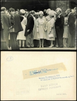 Lot 151 [2 of 4]:1963 Royal Wedding of Princess Alexandra: group of 7 of black & white Press Photos from the Daily Sketch, (mostly 25x20cm or 29x24.5cm) all with authentification handstamps or labels on reverse. Pictures show Queen Mother in car, Princess Anne as bridesmaid; the Queen watching the Bridal couple leave; etc. Also separate Evening News photo of the Queen Mother & the Queen at the wedding reception. Interesting lot. (8 Items)