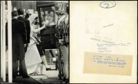 Lot 151 [1 of 4]:1963 Royal Wedding of Princess Alexandra: group of 7 of black & white Press Photos from the Daily Sketch, (mostly 25x20cm or 29x24.5cm) all with authentification handstamps or labels on reverse. Pictures show Queen Mother in car, Princess Anne as bridesmaid; the Queen watching the Bridal couple leave; etc. Also separate Evening News photo of the Queen Mother & the Queen at the wedding reception. Interesting lot. (8 Items)