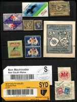 Lot 1154 [1 of 2]:Australia Post: items incl 'Parcel Mail' labels, used 'Box Link' labels, Postage Paid cutouts, PO Cash register labels, Priority labels, Postal Stationery cutouts, few stamps incl 1971 Christmas pack, etc. Mixed condition. (100s)
