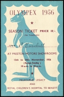 Lot 120 [2 of 2]:Olympics : Australia: 1956 Coloured publicity card (20x15mm) for OLYMPEX Philatelic Exhibition held at Preston Motors plus numbered Seaon ticket (cost 10/-) for the same event. (2)