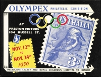 Lot 120 [1 of 2]:Olympics : Australia: 1956 Coloured publicity card (20x15mm) for OLYMPEX Philatelic Exhibition held at Preston Motors plus numbered Seaon ticket (cost 10/-) for the same event. (2)