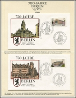 Lot 371 [1 of 5]:Collection Celebrating '750 Years of Berlin' in special Lindner album with German text incl issues from East with PNC covers (2), presentation folders, special unused telegram form, & West Berlin 1949-54 30pf, 40pf & 50pf (MUH, Cat £76), Maxi cards. Many sets both MUH & fine used, etc. 2.4kg. (160+ stamps, 18 covers, 7 M/Ss &2 packs)