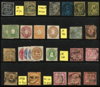 Lot 420 [2 of 2]:Collection: from Baden, Bavaria, Bremen (forgery), Brunswick, Hamburg, Hanover, Lübeck, Oldenburg, Prussia 1860 ½gr vermilion, marginal pair (one unit MUH), Saxony, Württemberg & North German Confederation. Very high catalogue value. Condition is extremely mixed. (118)