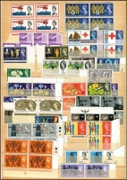 Lot 449 [2 of 2]:1953-69 Commems selection with some early QEII issues in pairs or blocks of 4, (no Phosphors), also 1967 Christmas 3d & 4d in complete sheets of 120, 1968 4d Painting of QEI sheet of 60. (100s)