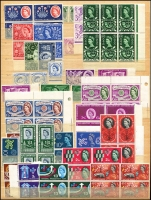 Lot 449 [1 of 2]:1953-69 Commems selection with some early QEII issues in pairs or blocks of 4, (no Phosphors), also 1967 Christmas 3d & 4d in complete sheets of 120, 1968 4d Painting of QEI sheet of 60. (100s)