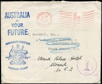 Lot 451 [2 of 2]:Perfins : CofA (for use at Australia House in London) selection incl 1913-19 5/- Seahorse, few KGVI high values, QEII Castles 10/- (2), also 1953 Official Paid cover with 'Australia for your Future, Commomwealth of Australia (Coat of Arms) Franking Stamp handstamp', with Aust House Afternoon Tea Party invitation and 2 page article with photos of these items. (13 items)