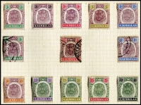 Lot 9751 [3 of 5]:1891-1941 Collection on leaves incl 1891-94 Wmk Crown CC 1c to 5c (mint & used sets), 1895-99 Wmk Crown CA Tigers (10, mint) 1c, 3c & 8c used, 1898 'One cent.' on 15c & 'Four cents.' on 1c, 3c, 5c & 8c opts, 1935-41 Arms various (17) to $2 & $5 mint, plus range of values to 50c in pairs. Mixed condition due to toning, generally fine. Cat £900+ Approx. (87)