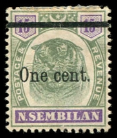 Lot 9751 [1 of 5]:1891-1941 Collection on leaves incl 1891-94 Wmk Crown CC 1c to 5c (mint & used sets), 1895-99 Wmk Crown CA Tigers (10, mint) 1c, 3c & 8c used, 1898 'One cent.' on 15c & 'Four cents.' on 1c, 3c, 5c & 8c opts, 1935-41 Arms various (17) to $2 & $5 mint, plus range of values to 50c in pairs. Mixed condition due to toning, generally fine. Cat £900+ Approx. (87)