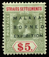 Lot 1755 [1 of 2]:1922 Malaya-Borneo Exhibition Wmk Mult Crown CA $5 green and red/blue-green with variety No stop after EXHIBITION SG #249f, Cat £900.