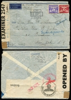 Lot 1756 [1 of 10]:1880s-1969 Postal stationery range incl postal cards, few Lettercards, plus selection of 1948-51 airmail covers to Australia, also 1941 double censored airmail cover to USA, and 2006 Personal Stamps (4 strips of 5 football players in special folder). (17 postal cards, 2 Lettercards, 11 covers)