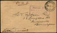 "Lot 1806:1916 (Jun 24) OAS Stampless Cover to GB endorsed in mss ""L. (?) Rivers 145 S.R.V."" [Rhodesian Volunteer Force] alongside 'ARMY POST OFFICE/1/NORTHERN RHODESIA' cds & violet boxed POSTAGE FREE/BASE 6. N. RHODESIA/Passed by CENSOR cachet. Minor stain at base."