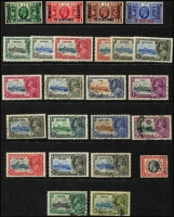 Lot 114 [2 of 2]:1935 Silver Jubilee: sets from Antigua, Bechuanaland Prot, Leeward Islands, Morocco Agencies (Spanish), Nigeria, St. Christopher & Nevis, Seychelles, Straits Settlements, Trinidad & Tobago, all mint, plus few oddments incl Hong Kong (4, used). Cat £150. Generally fine. (56)