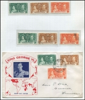 Lot 119 [3 of 3]:1937 Coronation Issues: complete MUH & used collection, plus 32 different FDCs, some illustrated, some registered. Cat £700+. Generally fine. (100s & 30+ covers)