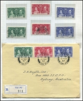 Lot 119 [1 of 3]:1937 Coronation Issues: complete MUH & used collection, plus 32 different FDCs, some illustrated, some registered. Cat £700+. Generally fine. (100s & 30+ covers)