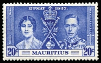 Lot 120 [2 of 2]:1937 Coronation Mauritius: 20c Line through Sword & Line by Sceptre, SG #251a & b, Cat £180.