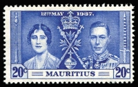 Lot 120 [1 of 2]:1937 Coronation Mauritius: 20c Line through Sword & Line by Sceptre, SG #251a & b, Cat £180.