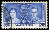 Lot 121 [2 of 5]:1937 Coronation Mauritius: set with 20c Line through Sword, another two 20c (one with Line by Sceptre & the other with blue line in right margin). SG 249-51b Cat £100+. (5)