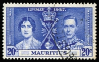 Lot 121 [3 of 5]:1937 Coronation Mauritius: set with 20c Line through Sword, another two 20c (one with Line by Sceptre & the other with blue line in right margin). SG 249-51b Cat £100+. (5)