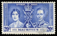 Lot 121 [1 of 5]:1937 Coronation Mauritius: set with 20c Line through Sword, another two 20c (one with Line by Sceptre & the other with blue line in right margin). SG 249-51b Cat £100+. (5)