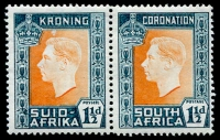 Lot 123 [2 of 2]:1937 Coronation South Africa: 1½d pair Afrikaans unit Mouse flaw. SG 73a [R4/1], 1/- Hyphen on Afrikaans stamp omitted. SG 75a [R2/13] Cat £90+. (4)