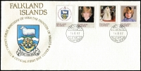 Lot 114 [1 of 2]:1982 Princess of Wales 21st Birthday: set of 17 Crown Agents Countries in special album incl Ascension, BAT, Falklands, etc, with Certificate of Authenticity.