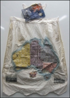Lot 1058 [1 of 2]:Textiles: c.1910 Apron (c.60x79cm) with map of Australia (incl Tasmania) and each State is represented by its own stamps (NT is covered in SA stamps), a silk Australian flag has been attached back to front at the top of the apron and several black & white illustrations have been affixed to the base of the apron. Some tone spots and damage to few stamps. Also a scarf (c.45x45cm) with Union Jack and crouching tiger in grass [very similar to Federated Malay States stamp issue.] Most unusual. (2 items)