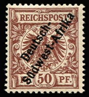 Lot 1845 [1 of 2]:1897-1900 Opts on German Stamps 25pf & 50pf prepared for use, but not sent to the Colony, Cat £650. (2)