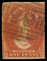 Lot 1009 [2 of 3]:1855 Imperf Chalon Wmk Large Star 1d carmine (margins at places), 2d green (3 margins) and 1d deep red-brown Pelure paper (3 margins). SG #14,16,24, Cat £2,100. (3)