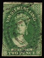 Lot 1009 [3 of 3]:1855 Imperf Chalon Wmk Large Star 1d carmine (margins at places), 2d green (3 margins) and 1d deep red-brown Pelure paper (3 margins). SG #14,16,24, Cat £2,100. (3)
