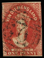 Lot 1009 [1 of 3]:1855 Imperf Chalon Wmk Large Star 1d carmine (margins at places), 2d green (3 margins) and 1d deep red-brown Pelure paper (3 margins). SG #14,16,24, Cat £2,100. (3)