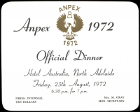 Lot 1129 [1 of 5]:Stamp Exhibitions: Australia Anpex 70, Anpex 72, Nat Stamp Week 78, Stamp Week 81, Anpex 82, Ausipex 84, Sunpex 85, Stampex '86, Great Britain Philympia 70, London 80, New Zealand Tarapex 69, Panpex 77, Tarapex 86, Zeapex 80 boxed presentation folder. Included amongst all the information are Exhibition passes, Season's tickets, Palmares material, catalogues, FDCs, menus (some signed), Cinderella labels, etc. (100s)
